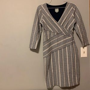 Anthropologie Maeve Wrapped Striped Column Dress